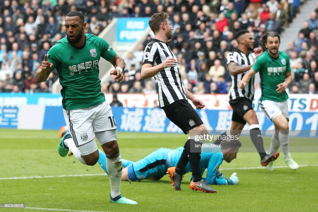 Matt Phillips of West Bromwich Albion celebrates after scoring his sides first goal during the Premier League match between Newcastle United and West Bromwich Albion at St. James Park on April 28, 2018 in Newcastle upon Tyne, England.