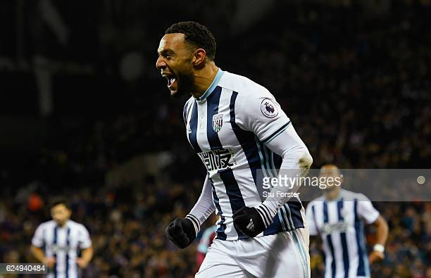 Matt Phillips of West Bromwich Albion celebrates as he scores their first goal during the Premier League match between West Bromwich Albion and...