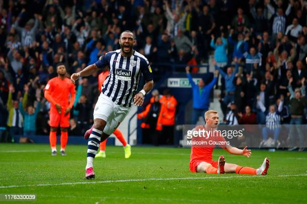 Matt Phillips of West Bromwich Albion celebrates scoring a goal during the Sky Bet Championship match between West Bromwich Albion and Huddersfield...