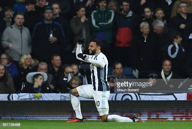 Matt Phillips of West Bromwich Albion celebrates scoring his sides first goal during the Emirates FA Cup Third Round match between West Bromwich...