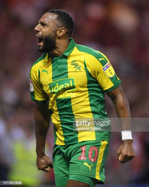 Matt Phillips of West Bromwich Albion celebrates the equalising goal during the Sky Bet Championship match between Nottingham Forest and West...