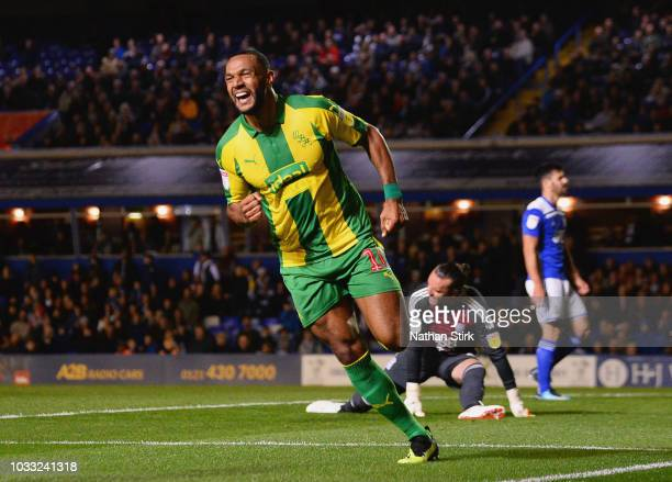 Matt Phillips of West Bromwich Albion celerbates as he scores his team's first goal during the Sky Bet Championship match between Birmingham City and...
