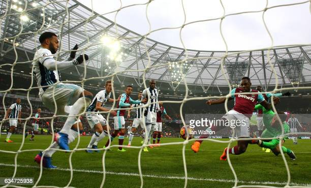 Matt Phillips of West Bromwich Albion clears the ball on the goal line during the Premier League match between West Ham United and West Bromwich...
