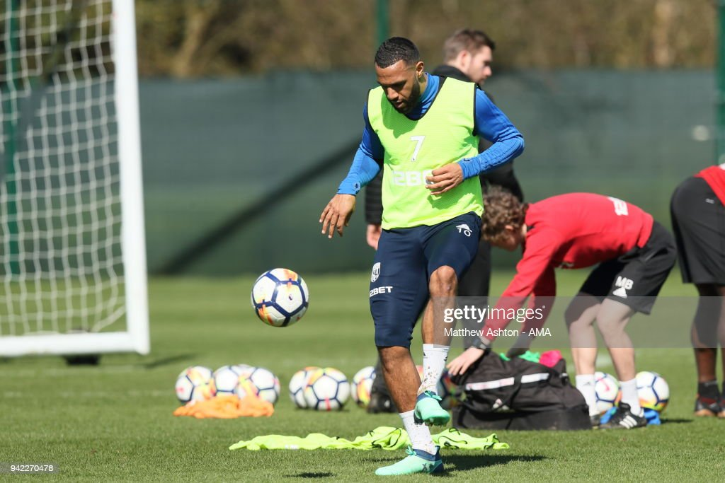 Matt Phillips of West Bromwich Albion during a West Bromwich Albion training session on April 5, 2018 in West Bromwich, England.
