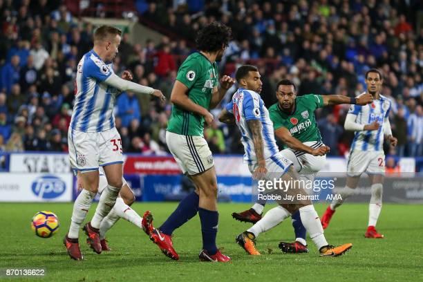 Matt Phillips of West Bromwich Albion has a shot at goal during the Premier League match between Huddersfield Town and West Bromwich Albion at John...
