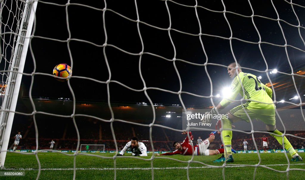 Matt Phillips of West Bromwich Albion hits the post during the Premier League match between Middlesbrough and West Bromwich Albion at Riverside Stadium on January 31, 2017 in Middlesbrough, England.