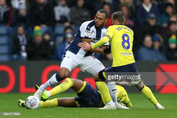 Matt Phillips of West Bromwich Albion holds off challenges from Kasey Palmer of Blackburn Rovers and Joe Rothwell of Blackburn Rovers during the Sky...