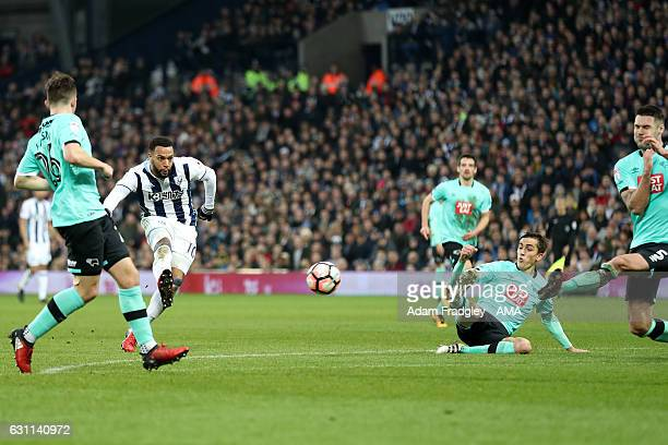 Matt Phillips of West Bromwich Albion scores a goal to make it 10 during The Emirates FA Cup Third Round match between West Bromwich Albion and Derby...