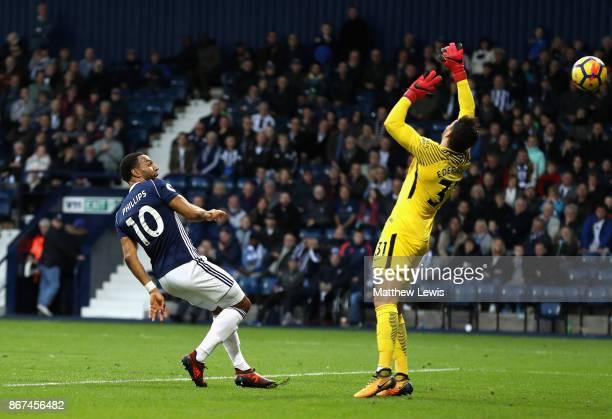 Matt Phillips of West Bromwich Albion scores his sides second goal past Ederson of Manchester City during the Premier League match between West...