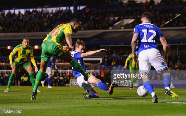 Matt Phillips of West Bromwich Albion scores his team's first goal during the Sky Bet Championship match between Birmingham City and West Bromwich...
