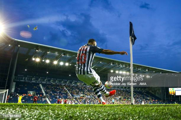 Matt Phillips of West Bromwich Albion takes a corner during the PreSeason Friendly match between West Bromwich Albion and AFC Bournemouth at The...