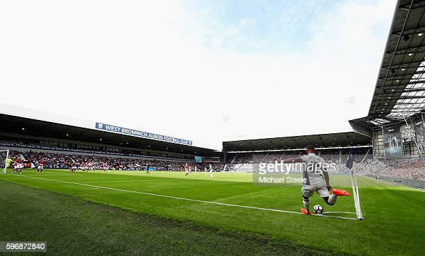 Matt Phillips of West Bromwich Albion takes a corner during the Premier League match between West Bromwich Albion and Middlesbrough at The Hawthorns...