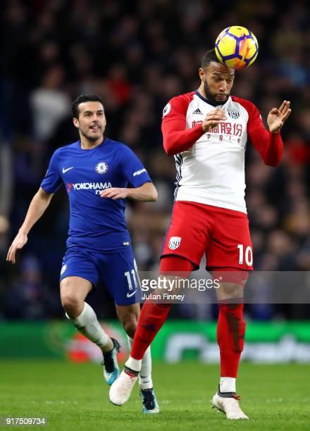 Matt Phillips of West Bromwich Albion wins a header during the Premier League match between Chelsea and West Bromwich Albion at Stamford Bridge on...