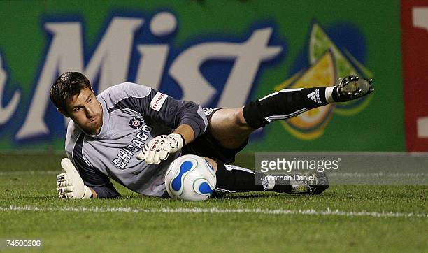 Matt Pickens of the Chicago Fire makes a save against Chivas USA on June 9, 2007 at Toyota Park in Bridgeview, Illinois.
