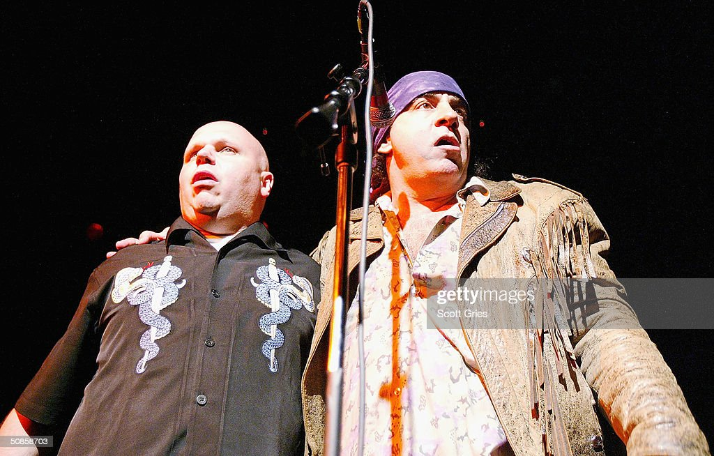 Matt Pinfield and Steve Van Zandt perform on stage during 'Life's A Gas' at The Annual Joey Ramone Birthday Bash on May 19, 2004 at Irving Plaza, in New York City.