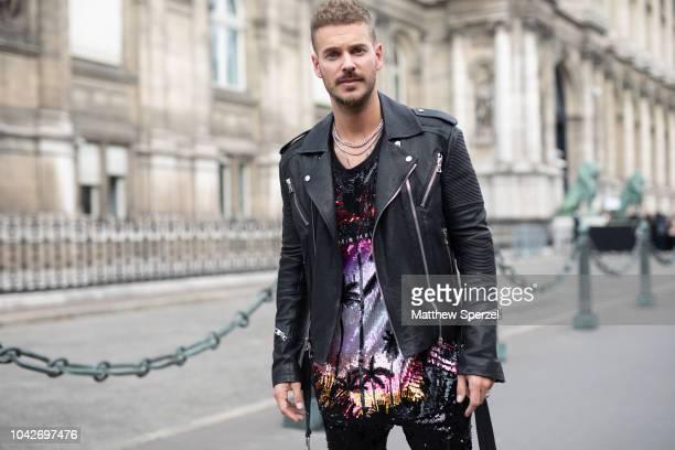 Matt Pokora is seen on the street during Paris Fashion Week SS19 wearing Balmain on September 28 2018 in Paris France