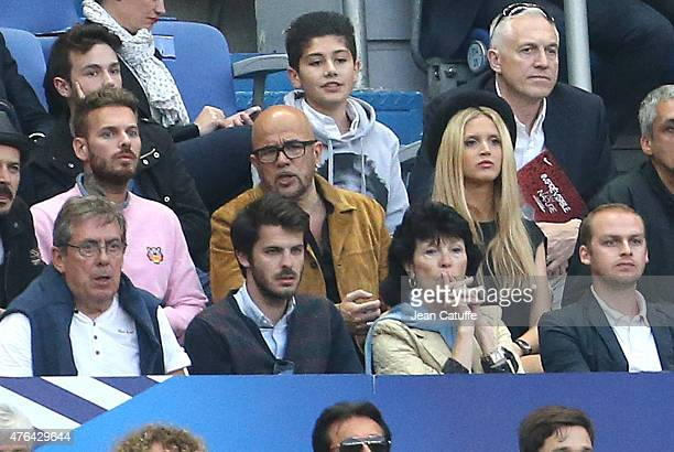 Matt Pokora Pascal Obispo and his girlfriend Julie Hantson attend the international friendly match between France and Belgium at Stade de France on...