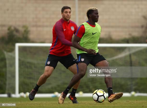 Matt Polster defends Gyasi Zardes of the US Men's National Soccer Team during training at StubHub Center on January 19 2018 in Carson California