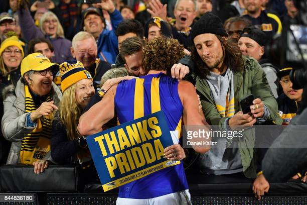 Matt Priddis of the Eagles celebrates with his fans after the AFL First Elimination Final match between Port Adelaide Power and West Coast Eagles at...