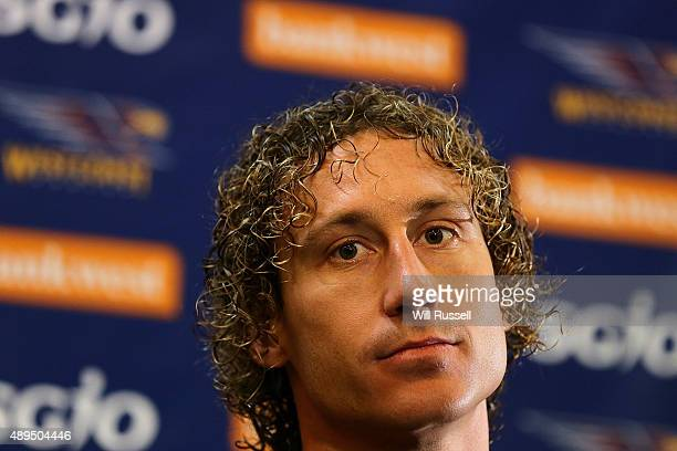 Matt Priddis of the Eagles speaks during a press conference in The Bill Walker Room at Domain Stadium on September 22, 2015 in Perth, Australia.