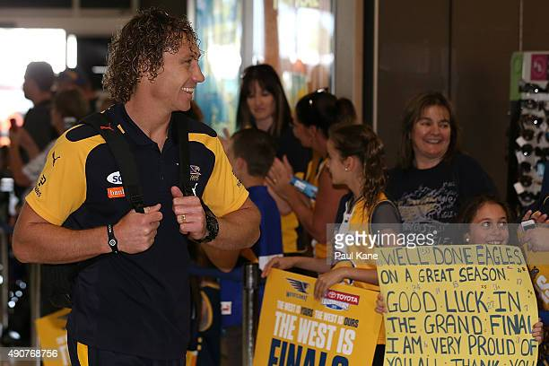 Matt Priddis of the West Coast Eagles arrives at the Perth Domestic Terminal prior to departure to Melbourne for the 2015 AFL Grand Final on October...