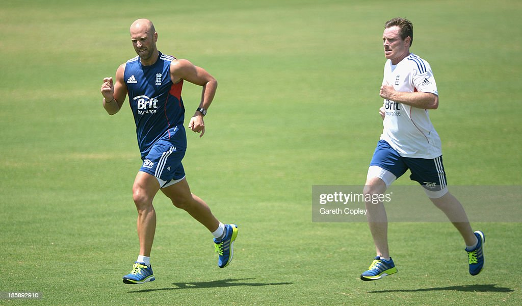 Matt Prior and Ian Bell of England take part in a drill during a training session at WACA on October 26, 2013 in Perth, Australia.