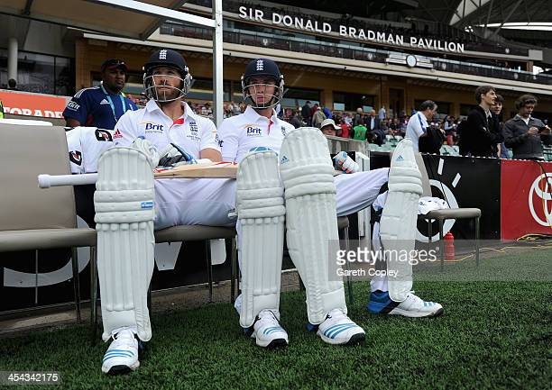 Matt Prior and Stuart Broad of England wait to go into bat during day five of Second Ashes Test Match between Australia and England at Adelaide Oval...