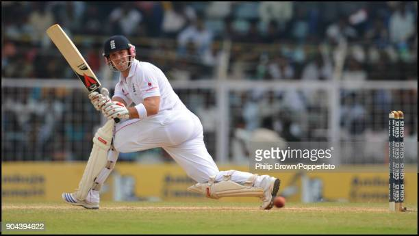 Matt Prior batting for England during his innings of 53 not out in the 1st Test match between India and England at MA Chidambaram Stadium Chennai...