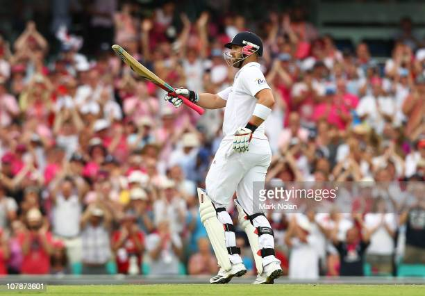 Matt Prior of England acknowledges the crowd after scoring a half century during day three of the Fifth Ashes Test match between Australia and...