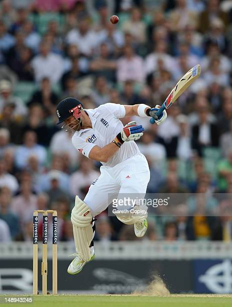 Matt Prior of England avoids a ball from Morne Morkel of South Africa during day two of the 1st Investec Test match between England and South Africa...
