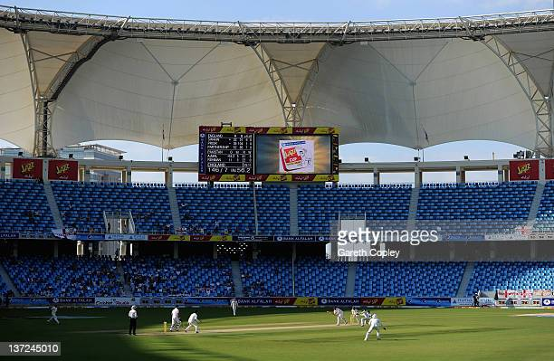 Matt Prior of England bats against Saeed Ajmal of Pakistan during the first Test match between Pakistan and England at The Dubai International...