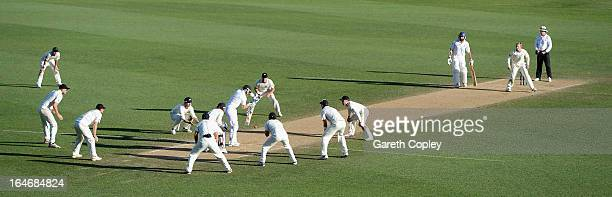 Matt Prior of England blocks a ball from Kane Williamson of New Zealand during day five of the Third Test match between New Zealand and England at...