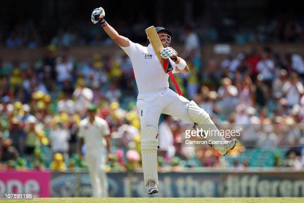 Matt Prior of England celebrates after scoring a century during day four of the Fifth Ashes Test match between Australia and England at Sydney...