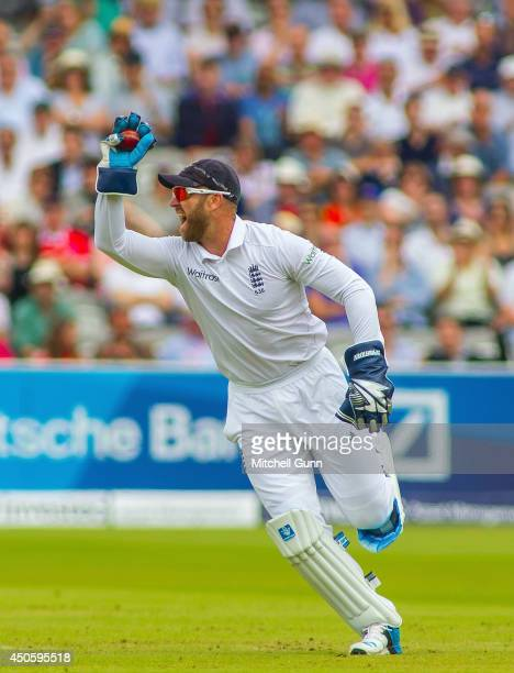 Matt Prior of England celebrates catching the ball to dismiss Kaushal Silva of Sri Lanka during the Investec 1st Test Match day three between England...