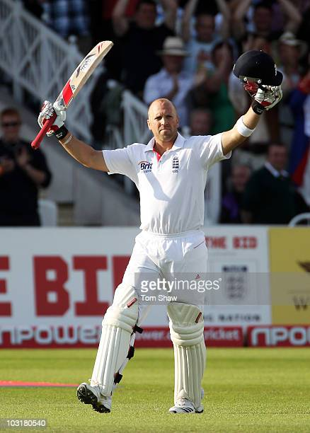 Matt Prior of England celebrates his century during day three of the npower 1st Test Match between England and Pakistan at Trent Bridge on July 31...