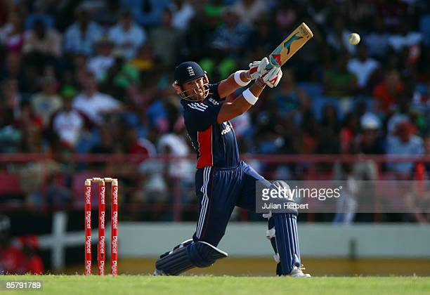 Matt Prior of England hits out during The 5th One Day International between The West Indies and England played at The Beausjour Stadium on April 3...