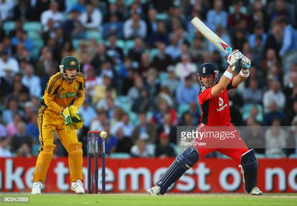 Matt Prior of England hits out watched by Tim Paine of Australia during the 1st NatWest One Day International between England and Australia at The...