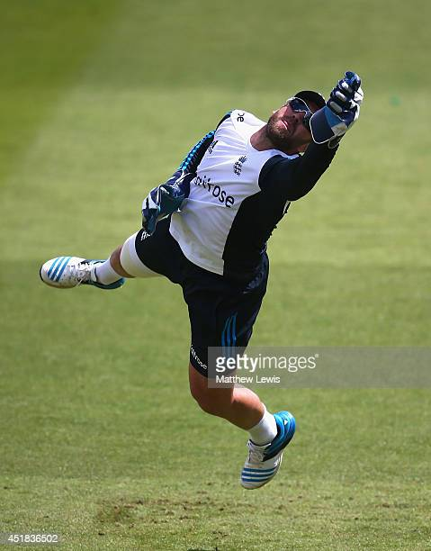 Matt Prior of England in action during an England nets session ahead of the first Investec Test Series at Trent Bridge on July 8 2014 in Nottingham...