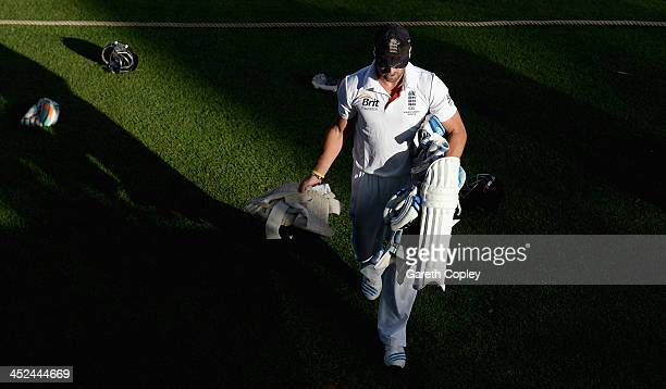 Matt Prior of England leaves the field at the end of day one of the tour match between the Chairman's XI and England at Traeger Park on November 29...