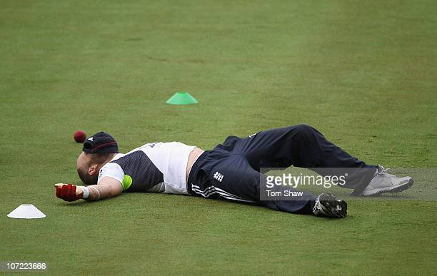 Matt Prior of England rests after some keeping drills during an England training session at Adelaide Oval on December 1 2010 in Adelaide Australia
