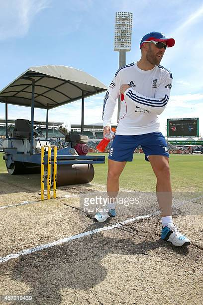 Matt Prior of England stands at the crease inspecting the cracks before start of play on day five of the Third Ashes Test Match between Australia and...