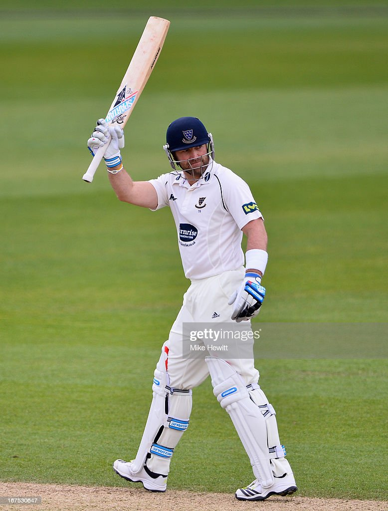 Matt Prior of Sussex celebrates his 50, reached off only 36 deliveries during day three of the LV County Championship Division One match between Surrey and Sussex at The Kia Oval on April 26, 2013 in London, England.
