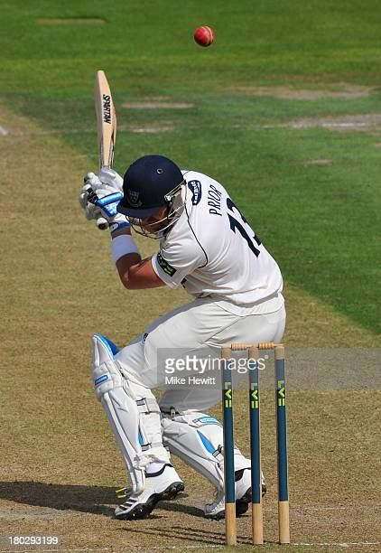 Matt Prior of Sussex ducks under a bouncer from Jack Brooks of Yorkshire during the LV County Championship match between Sussex and Yorkshire at...