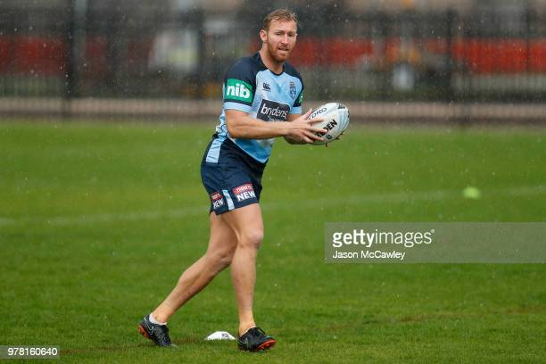 Matt Prior of the Blues passes the ball during a New South Wales Blues State of Origin training session at Moore Park on June 19 2018 in Sydney...