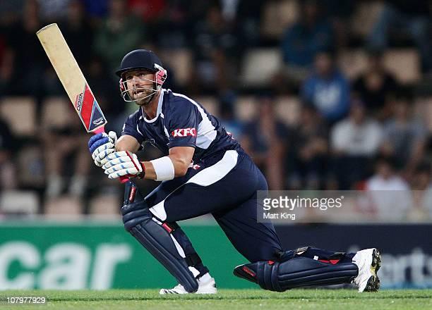 Matt Prior of the Bushrangers plays on the leg side during the Twenty20 Big Bash match between the Tasmanian Tigers and the Victorian Bushrangers at...
