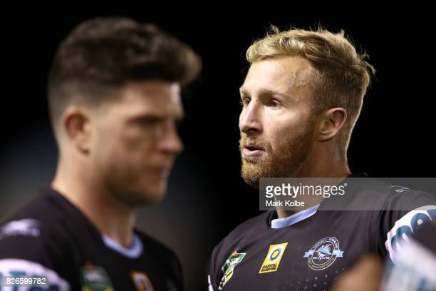 Matt Prior of the Sharks looks dejected after defeat during the round 22 NRL match between the Cronulla Sharks and the Canberra Raiders at Southern...
