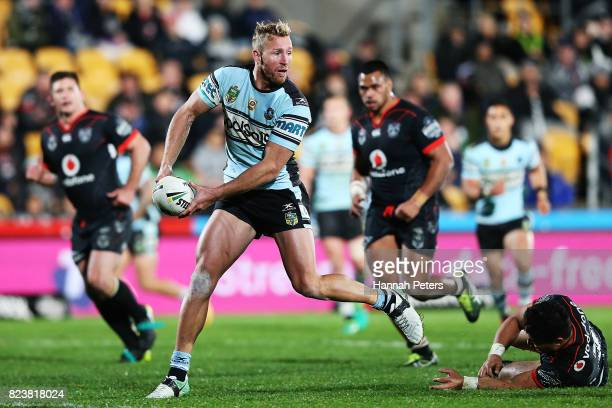 Matt Prior of the Sharks looks to pass the ball during the round 21 NRL match between the New Zealand Warriors and the Cronulla Sharks at Mt Smart...