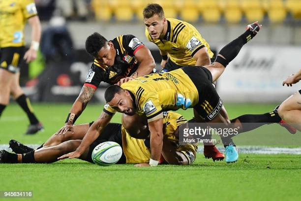 Matt Proctor of the Hurricanes eyes loose ball during the round nine Super Rugby match between the Hurricanes and the Chiefs at Westpac Stadium on...