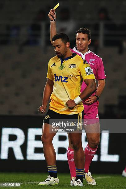 Matt Proctor of the Hurricanes is given a yellow card during the round 16 Super Rugby match between the Blues and the Hurricanes at Eden Park on May...