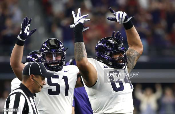 Matt Pryor and Austin Schlottmann of the TCU Horned Frogs celebrate a touchdown against the Oklahoma Sooners in the first half of the Big 12...
